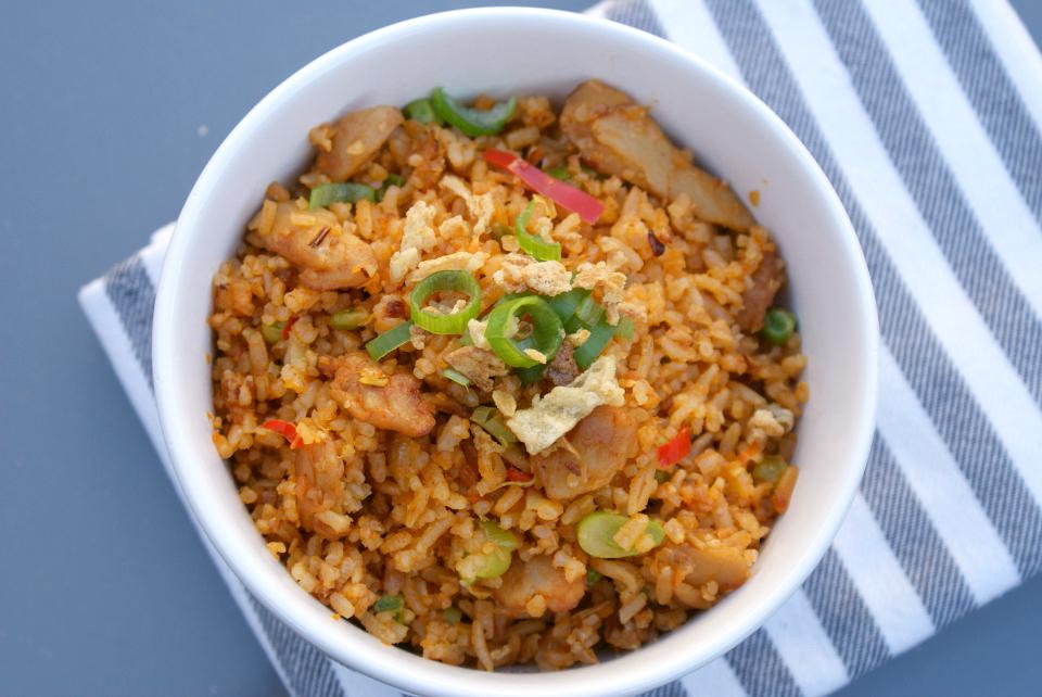 Recept Gebakken rijst met groenten en vegetarische kip
